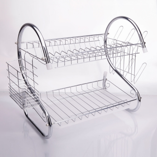 ... 2 Tiers Kitchen Dish Cup Drying Rack Drainer  ...