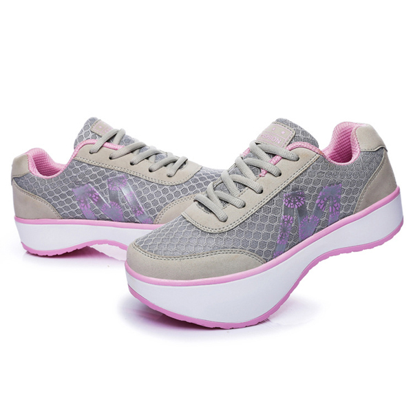 Summer Women Mesh Breathable Rocker Sole Shoes Sport Running Athletic Casual Shoes