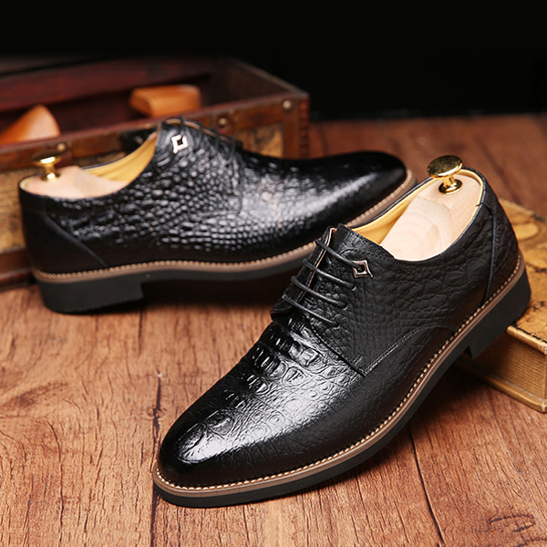 Men Shoes New Business Leather Formal Lace-Up Soft Round Toe Fashion Outdoor Shoes