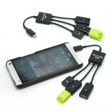 3-in-1 Micro USB to Dual-USB and Micro USB Female Port Adapter OTG Cable USB Hub Black