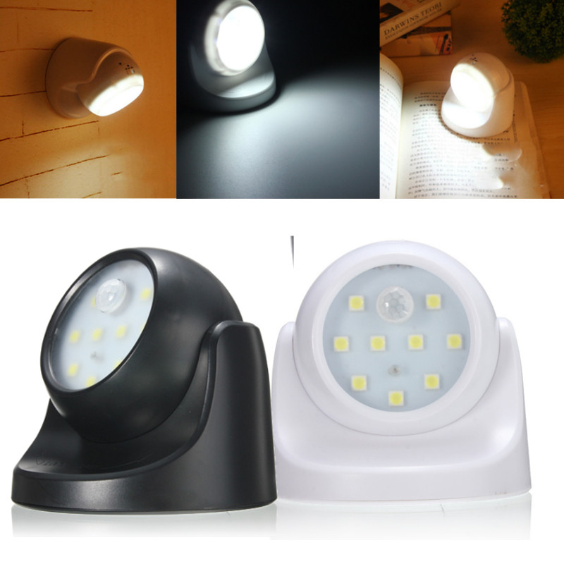 9led Black White Rotation Battery Powered Motion Activated
