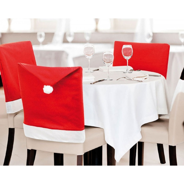 6pcs Santa Claus Hat Style Chair Back Covers For Christmas