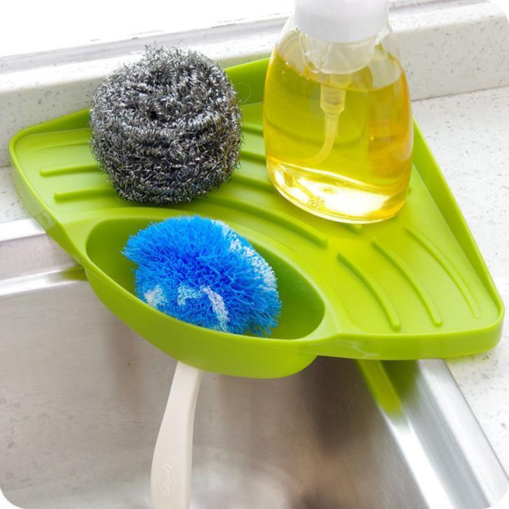 Kitchen Sink Corner Storage Rack Sponge Holder Wall Mounted Sucker Storage Tray Tool