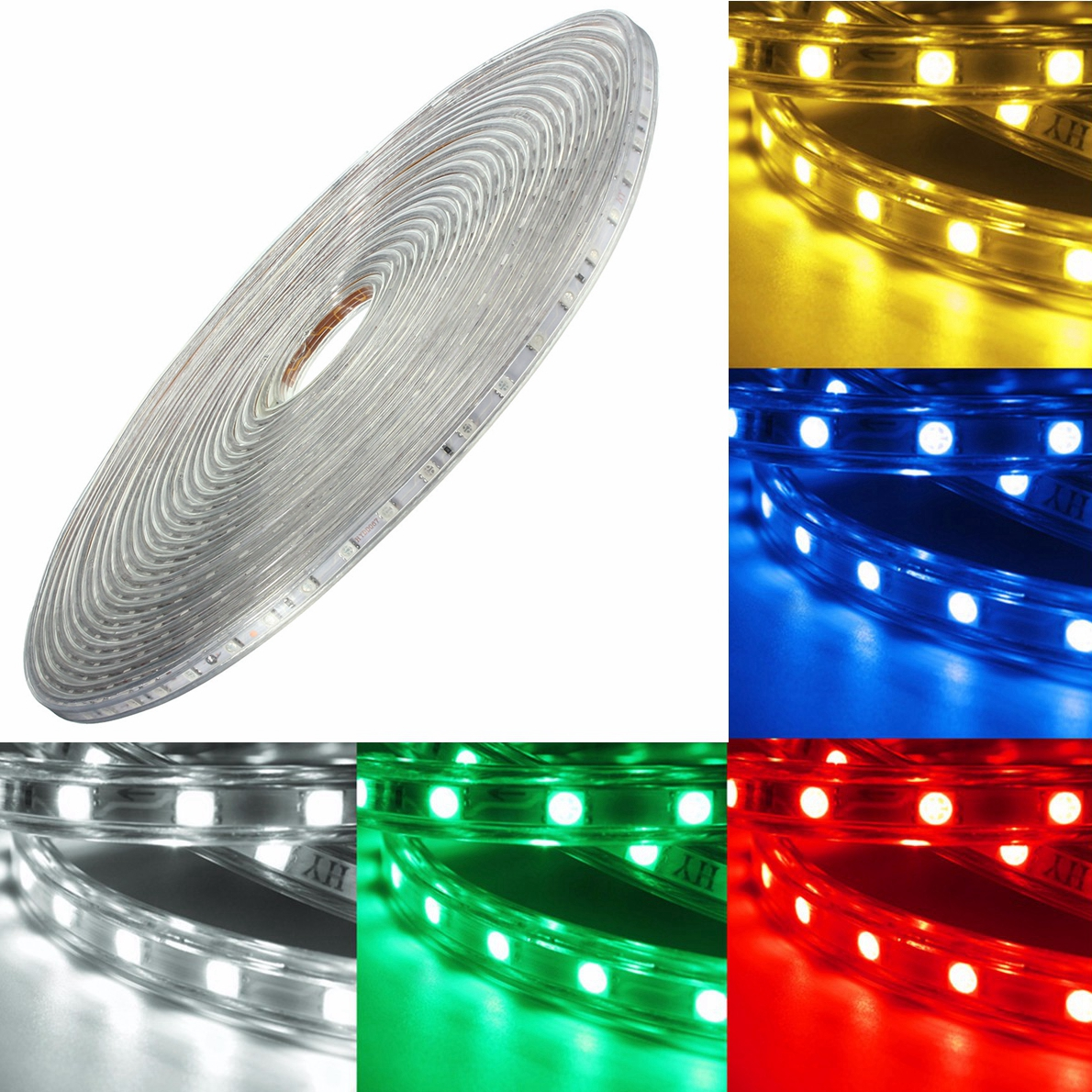 Led Waterproof Strip Lights White Flexible Rope Lighting: 220V 14M 5050 LED SMD Outdoor Waterproof Flexible Tape