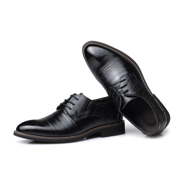 Men Lace Up Casual Leather Shoes Formal Pointed Toe Business Shoes
