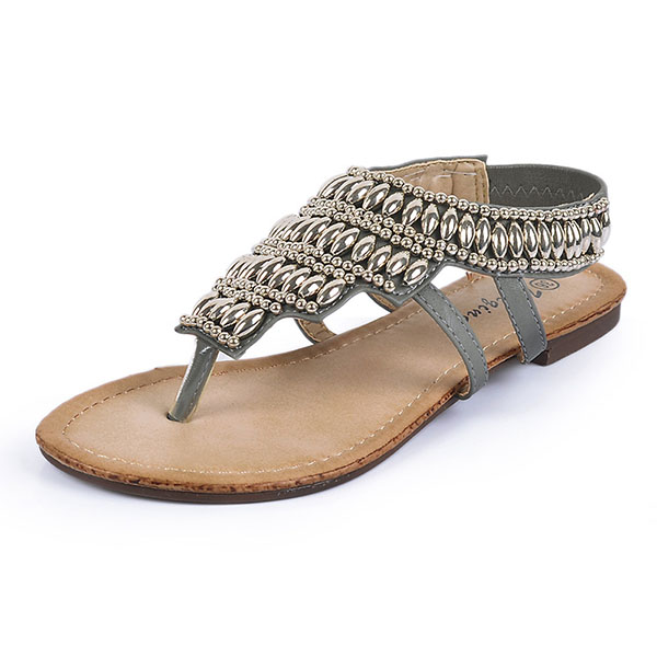 ac952d67320b9 Bohemia Beaded Retro Vintage Beach Sandals Peep Toe Slip On Flat Sandals