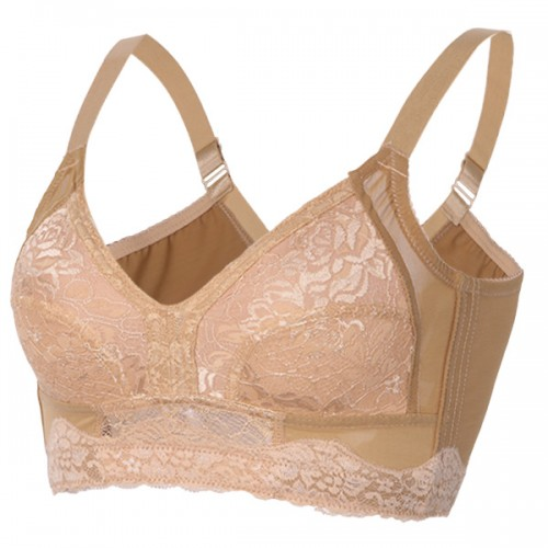 B-G Plus Size Bra Full Cup Wire Free Ultra Thin Push Up Adjusted Bras Lingerie For Women