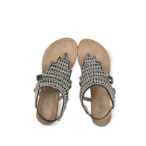 Bohemia Beaded Retro Vintage Beach Sandals Peep Toe Slip On Flat Sandals