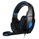 KOTION EACH G4000 Stereo Gaming Headphone Headset Headband with Mic Volume Control LED Light for PC Gamer,Cable Length: About 2.2m (Blue + Black)