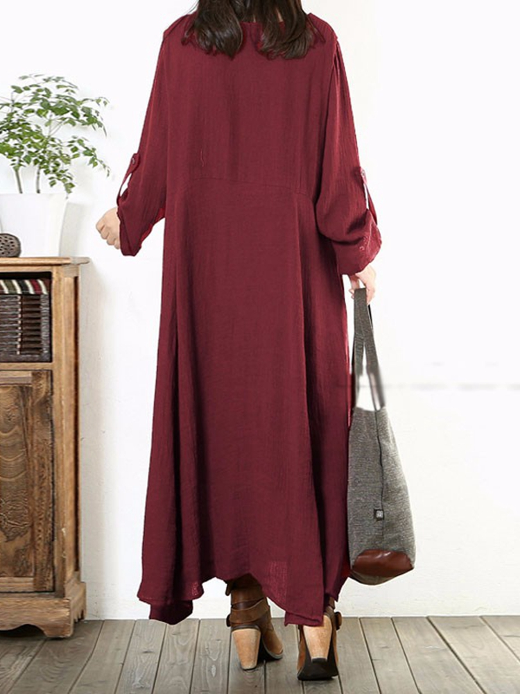 eb6547bec95 Women Long Sleeve Cotton Vintage Solid Color Round Neck Loose Maxi ...
