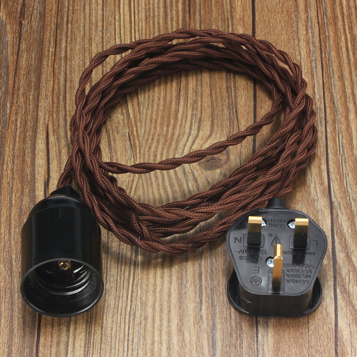 3M E27 Vintage Twisted Fabric Cable UK Plug In Pendant Lamp Light ... for Bulb Holder With Plug  75tgx