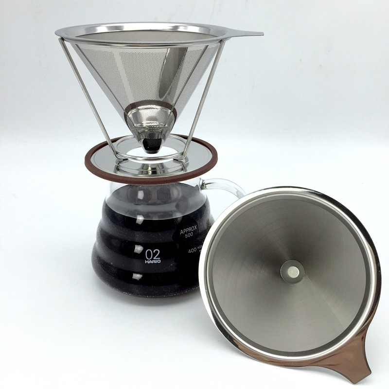Portable Reusable Stainless Steel V Type Cup Cone Coffee