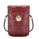 Women Crocodile Shoulder Bags Gilrs Mini Wallet Functional 6.5 Inch Phone Case For Iphone Xiaomi