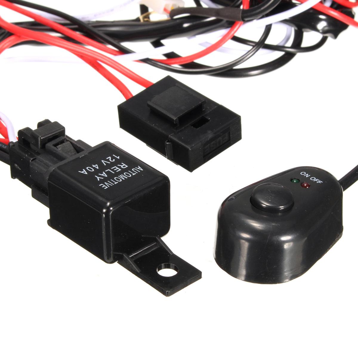 Led Light Bar Wiring Loom Harness 40a Switch Relay Kit Work Light 12v