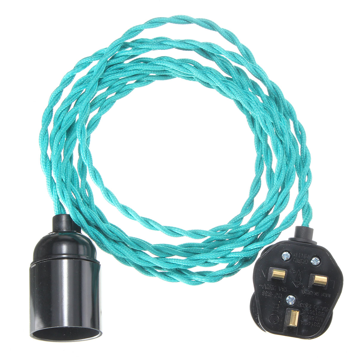 4M E27 Vintage Twisted Fabric Cable UK Plug In Pendant Lamp Light ...