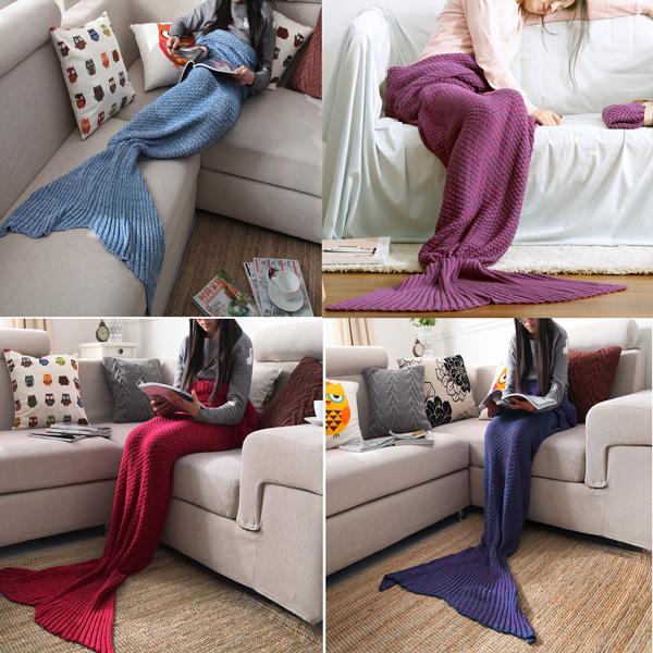 Yarn Knitted Mermaid Tail Blanket Handmade Crochet Throw Super Soft Sofa Bed Mat Sleeping Bag