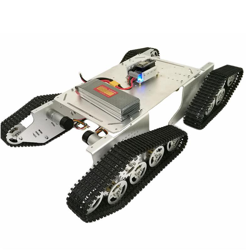 DIY T900 4WD Metal Wall-E Silver Tank Track Caterpillar Chassis Smart Robot Kit