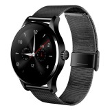 K88H 1.22 inch 2.5D Curved Screen Bluetooth 4.0 IP54 Waterproof Metal Strap Smart Bracelet with Heart Rate Monitor & BT Call & Pedometer & Call Reminder & SMS / Twitter Alerts & Anti lost & Remote Camera Functions For Android 4.4 OS and IOS 7.0 or Above Devices (Black)