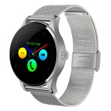 K88H 1.22 inch 2.5D Curved Screen Bluetooth 4.0 IP54 Waterproof Metal Strap Smart Bracelet with Heart Rate Monitor & BT Call & Pedometer & Call Reminder & SMS / Twitter Alerts & Anti lost & Remote Camera Functions For Android 4.4 OS and IOS 7.0 or Above Devices (Silver)
