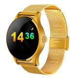 K88H 1.22 inch 2.5D Curved Screen Bluetooth 4.0 IP54 Waterproof Metal Strap Smart Bracelet with Heart Rate Monitor & BT Call & Pedometer & Call Reminder & SMS / Twitter Alerts & Anti lost & Remote Camera Functions For Android 4.4 OS and IOS 7.0 or Above Devices (Gold)