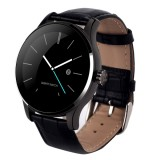 K88H 1.22 inch 2.5D Curved Screen Bluetooth 4.0 IP54 Waterproof Cowhide Strap Smart Bracelet with Heart Rate Monitor & BT Call & Pedometer & Call Reminder & SMS / Twitter Alerts & Anti lost & Remote Camera Functions For Android 4.4 OS and IOS 7.0 or Above Devices (Black)