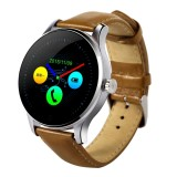 K88H 1.22 inch 2.5D Curved Screen Bluetooth 4.0 IP54 Waterproof Cowhide Strap Smart Bracelet with Heart Rate Monitor & BT Call & Pedometer & Call Reminder & SMS / Twitter Alerts & Anti lost & Remote Camera Functions For Android 4.4 OS and IOS 7.0 or Above Devices (Brown)