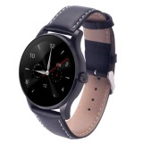 K88H 1.22 inch 2.5D Curved Screen Bluetooth 4.0 IP54 Waterproof Couples Style Leather Strap Smart Bracelet with Heart Rate Monitor & BT Call & Pedometer & Call Reminder & SMS / Twitter Alerts & Anti lost & Remote Camera Functions For Android 4.4 OS and IOS 7.0 or Above Devices (Dark Blue)