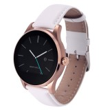 K88H 1.22 inch 2.5D Curved Screen Bluetooth 4.0 IP54 Waterproof Couples Style Leather Strap Smart Bracelet with Heart Rate Monitor & BT Call & Pedometer & Call Reminder & SMS / Twitter Alerts & Anti lost & Remote Camera Functions For Android 4.4 OS and IOS 7.0 or Above Devices (White)