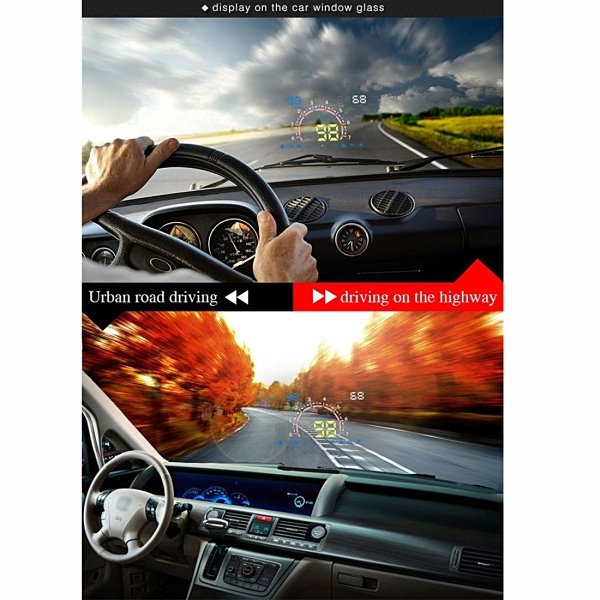 E350 5.8 inch Car HUD / OBD2 Vehicle-mounted Gator Automotive Head Up Display Security System with Multi-color LED, Support Car Real Speed & Turn Speed & Water Temperature & Oil Consumption & Driving Distance / Time & Voltage Display, Support Water Temperature Alarm, Over Speed Alarm, Low Voltage Alarm, Turn Speed Alarm, Mile Switching, Light Sensor Functions