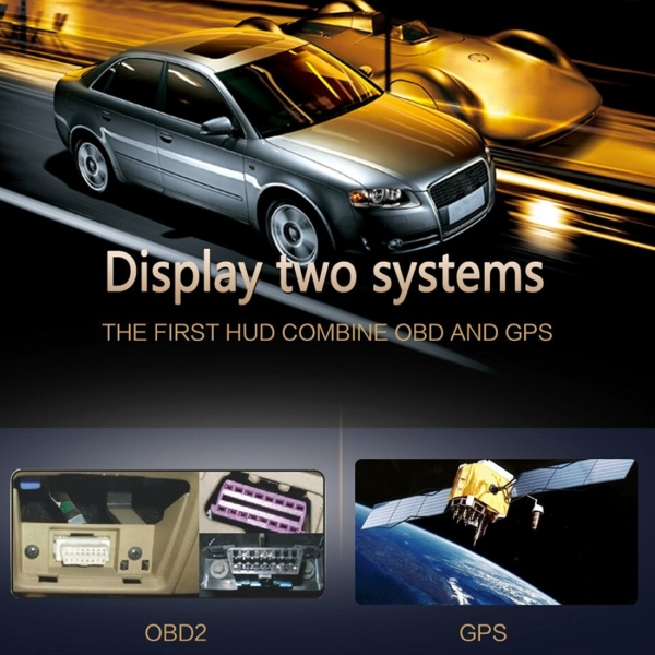 S7 5.8 inch Car GPS HUD / OBD2 Vehicle-mounted Gator Automotive Head Up Display Security System with Dual Display, Support Car Local Real Time & Real Speed & Turn Speed & Water Temperature & Oil Consumption & Driving Distance / Time & Voltage & Elevation & Satellite Signal Display, Support Water Temperature Alarm, Over Speed Alarm, Low Voltage Alarm, Turn Speed Alarm, Mile Switching, Light Sensor Functions