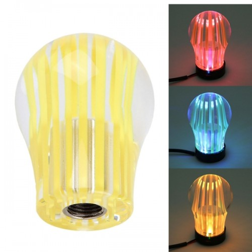 Crystal Three Light Car Breathing Racing Dash LED Magic Lamp Gear Head Shift Knob with Base, Size: 6.0 * 4.5 * 3.0 cm (Yellow)