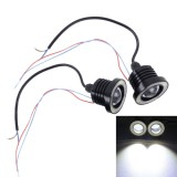 2 PCS 2.5 inch DC12-24V 10W 900LM 6500K Car Angel Eyes Fog Lamp Foglight, Cable Length: 20cm (White Light + White Light)