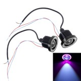 2 PCS 2.5 inch DC12V 10W 900LM 6500K Car Angel Eyes Fog Lamp Foglight, Cable Length: 20cm (Pink Light + White Light)
