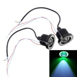 2 PCS 2.5 inch DC12V 10W 900LM 6500K Car Angel Eyes Fog Lamp Foglight, Cable Length: 20cm (Green Light + White Light)
