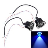 2 PCS 2.5 inch DC12V 10W 900LM 6500K Car Angel Eyes Fog Lamp Foglight, Cable Length: 20cm (Blue Light + White Light)