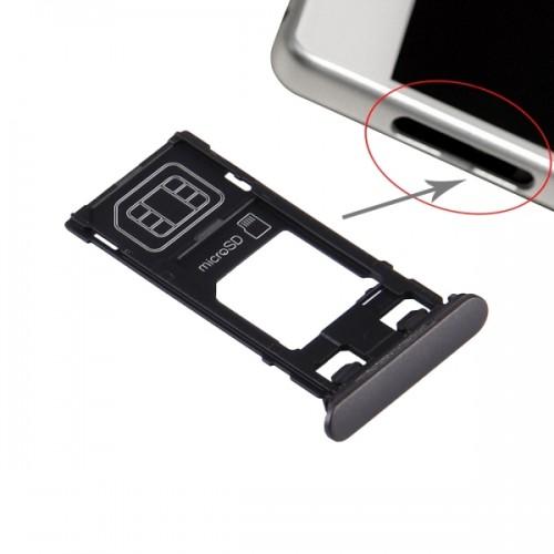 Replacement Sony Xperia X (Single SIM Version) SIM Card Tray + Micro SD Card Tray + Card Slot Port Dust Plug (Graphite Black)