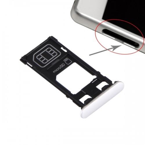 Replacement Sony Xperia X (Single SIM Version) SIM Card Tray + Micro SD Card Tray + Card Slot Port Dust Plug (White)