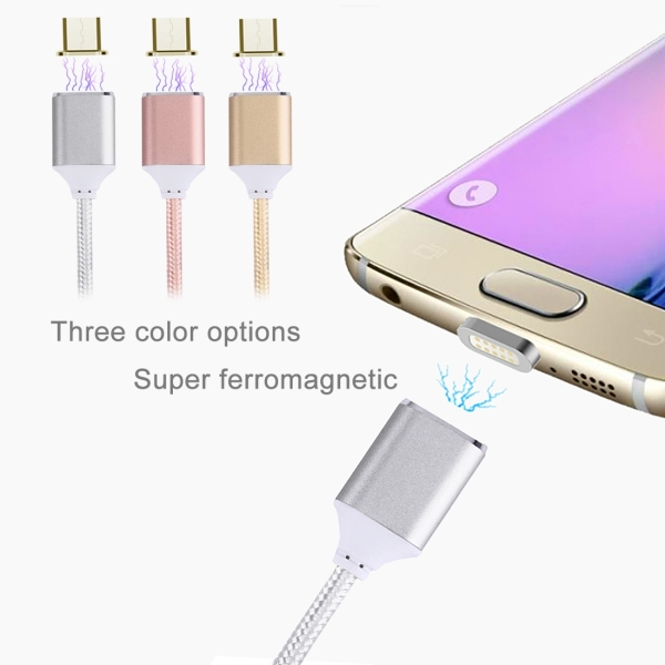1M Woven Style 2.4A Micro USB to USB Data Sync Charging Cable Intelligent Metal Magnetism Cable for Samsung, HTC, Sony, Huawei, Xiaomi, Meizu and other Android Devices (Silver)