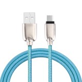 1M Woven Style Metal Head 108 Copper Cores Type-C to USB Data Sync Charging Cable for Samsung Galaxy Note 7, New MacBook Air 12 inch, Xiaomi Mi 5 & Mi 4c, Meizu PRO 5, Letv Coolpad Cool1 dual, Nokia, Google, OnePlus and other Devices with Type-C USB Port (Blue)