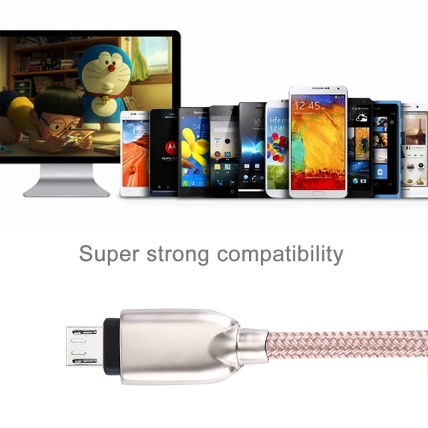 1M Woven Style Metal Head 108 Copper Cores Micro USB to USB Data Sync Charging Cable for Samsung, HTC, Sony, Huawei, Xiaomi, Meizu and other Android Devices with Micro USB Port (Pink)