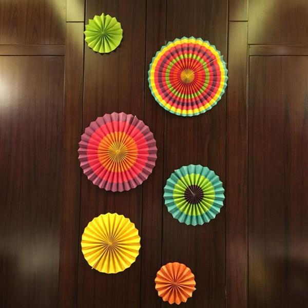 6 pcs fiesta paper fan hanging decorations home birthday for Home decorations fan