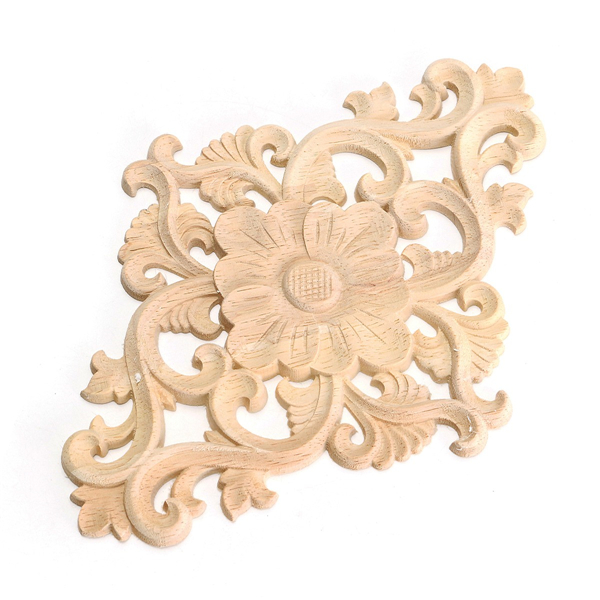 Unpainted wood oak carved onlay applique furniture home for Applique furniture decoration