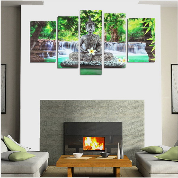 5pcs buddha frameless canvas print mural painting wall for Canvas mural painting