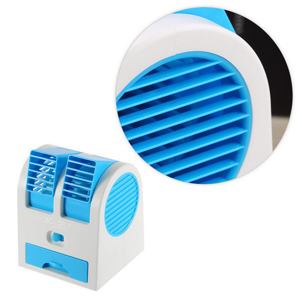 portable usb ultra quiet mini air conditioning fan ventilator dual bladeless no leaves design. Black Bedroom Furniture Sets. Home Design Ideas