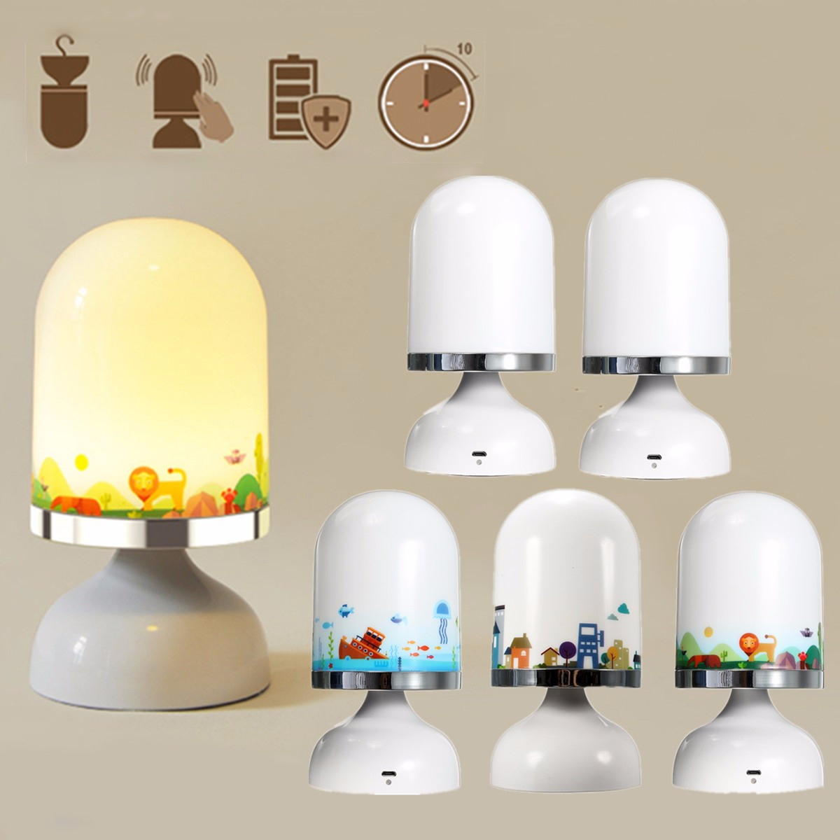 Portable Usb Rechargeable Led Night Light Hanging Stand