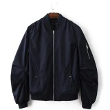 Men Pilot Pure Color Ribbed Cuff Jacket Spring Autumn Stand Collar Zipper Casual Coat