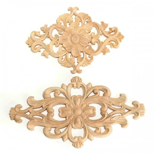 Unpainted wood oak carved onlay applique furniture home for Applique decoration