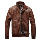 Plus Size Mens Fashion PU Leather Jacket Stand Collar Motorcycle Slim Fit PU Coat
