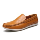New Men Casual Outdoor Soft Comfortable Leather Slip On Flats Loafers Shoes