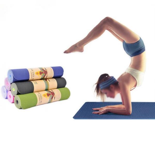 TPE Bicolor 6mm Yoga Mat Outdoor Fitness Sport Anti-skid ...
